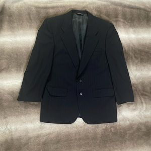 Burberry Vintage Men's Wool Blazer Black Pinstripe